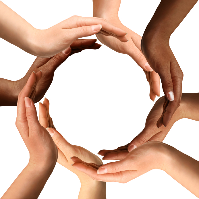 Multiracial Hands Making A Circle Flag For Humanity